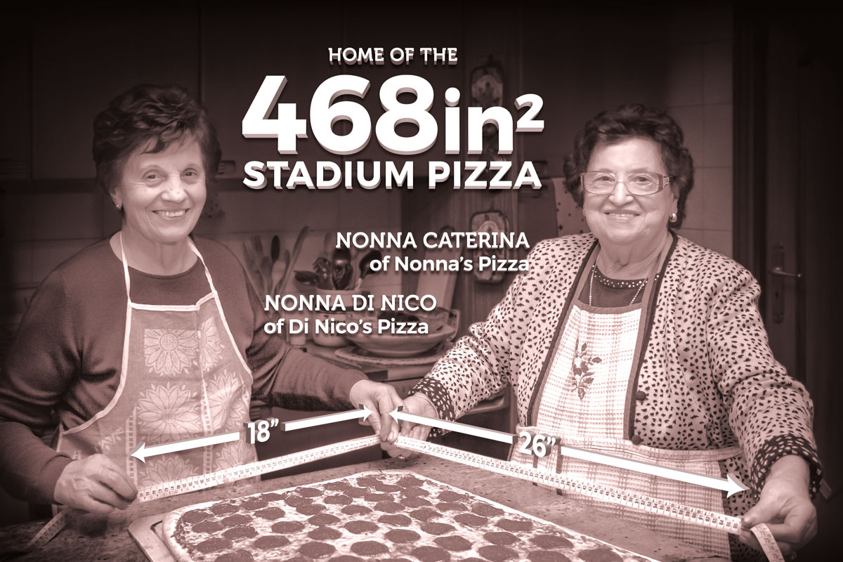 Photo of two Nonnas with measuring tapes at 18 inches and 26 inches